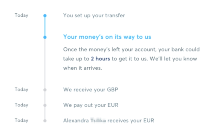 transferwise money tracker in action